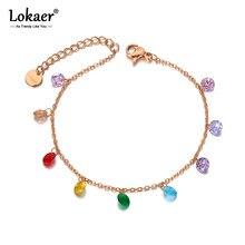Lokaer Titan Edelstahl Böhmen Strand Kette & Link Armbänder Für Frauen Trendy Bunte CZ Kristall Charme Armband B20114