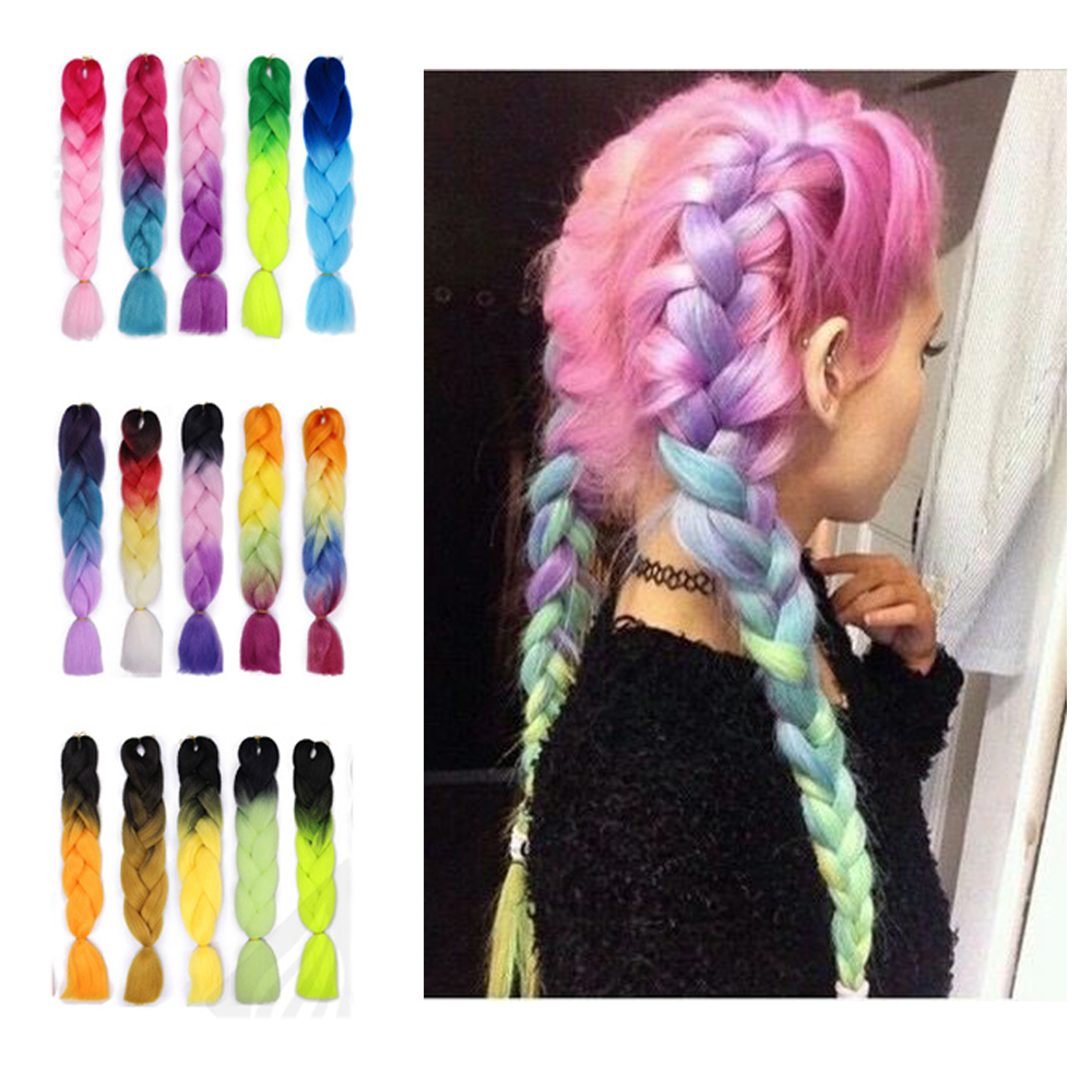 Synthetic Braid Hair Extensions For Crochet Braiding Hair 24 Inch Jumbo  Extensions Ombre Two Tone Color Colored Hair Wicks