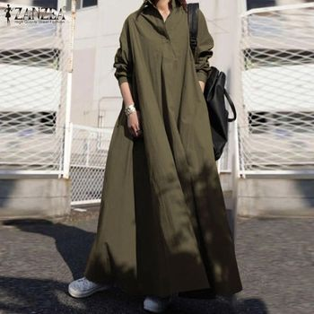 ZANZEA Autumn Stylish Women Vintage Long Sleeve Loose Sundress 2021 Casual Long Maxi Dress Kaftan Femme Solid Party Vestido Robe 2