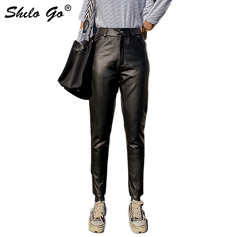 Genuine Leather Pants Minimalist High Waist Single Button Sheepskin Harem Pants Women Autumn Winter Casual Solid Trousers Female