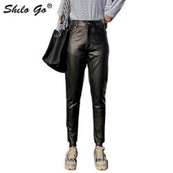 Pantaloni di Cuoio genuino Minimalista A Vita Alta Button Singolo di pelle di Pecora Pantaloni stile harem Delle Donne di Autunno Inverno casual Solido Pantaloni Femminile