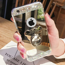 For Pocophone F1 Cartoon Bear Mirror Case For Xiaomi Redmi A1 A2 5X 6X 3S Note 3 4 4A 4X 5 Plus 5A 6 6A 7 7A K20 9T 8 Pro Cover(China)
