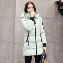 Winter Jacket Women 2019 Fur Hooded Long Coats Letter Cotton Padded Warm Thicken Plus Size Parkas Manteau Femme Hiver