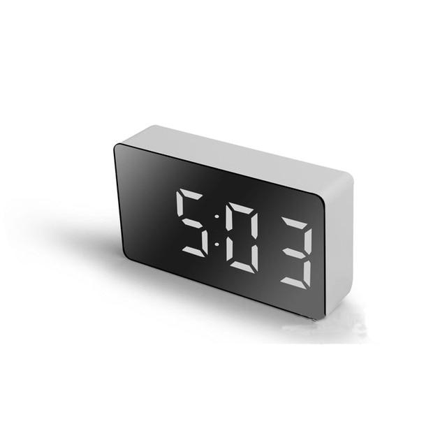 LED Multifunctional Mirror Clock Digital Alarm Snooze Display Time Night LCD Light Table Desktop USB 5v/No Battery Home Decor 1