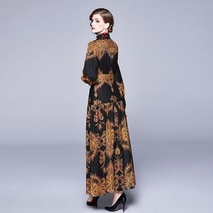Image 3 - Banulin Autumn Runway Winter Long Dresses 2020 Women Lantern Sleeve Vintage Floral Print Casual Maxi Dress Robe Longue Femme ete