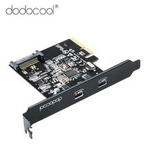 Dodocool SuperSpeed USB 3.1 PCI بطاقة Express مع المزدوج عكسها نوع C منافذ 5 فولت 15Pin موصل الجنرال 2 10 Gbps PCI بطاقة Express