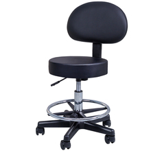 Round Seat Swivel Rolling Stool With Footrest Leather Chair Medical Spa Drafting Task Work Desk Stool with Back For Home/Office