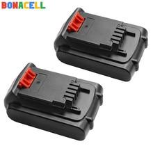 Bonacell 2Pcs 18V/20V 2000mAh Li-ion Rechargeable Battery Power Tool Replacement for BLACK & DECKER LB20 LBX20 LBXR20