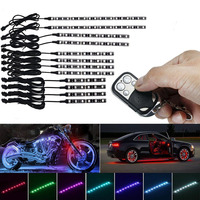 12pcs RGB Under Motorcycle Atmosphere Glow Decorative LED Neon Walkway Light Waterproof