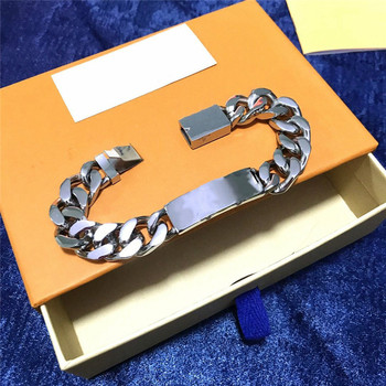 The classical charm Men's thick silver colour Quenching Bracelet 1:1 original Women Luxury brands Logo Valentine's Day gift