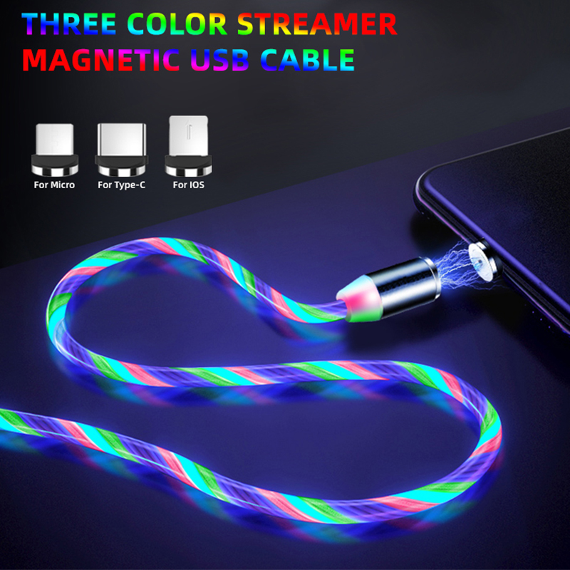Flow Luminous Lighting Magnetic USB Cable For Samsung S9 Xiaomi Micro USB Type C Phone Charging LED Cable For iPhone Charge Cord image