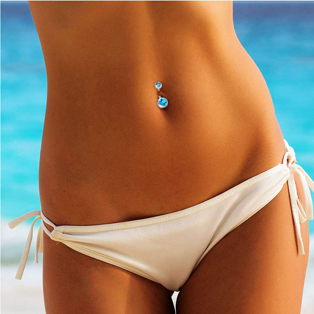 14G Short Belly Button Rings for Women Body Curved Barbell Dangle Body Piercing Set Navel Bar Rings CZ  -Tone 6mm 8mm 10mm 3