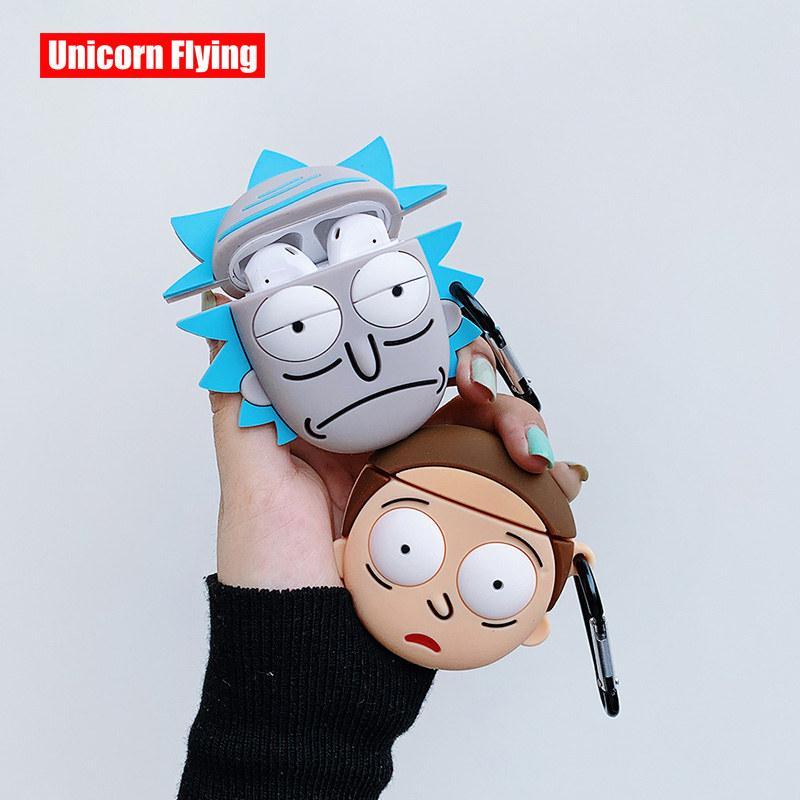 LinXiang 3D Funny Lovely Cartoon Rick Morty Bluetooth Earphone Silicone Protective Cover Case For Apple Airpods 1 2 Pro
