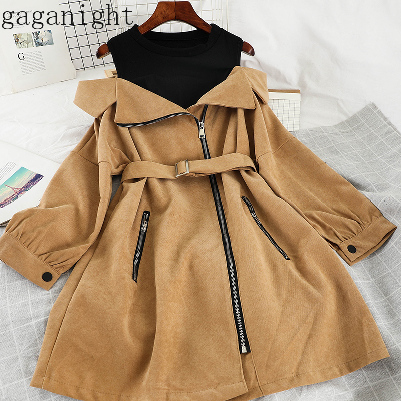 Gaganight Elegant Women Patchwork Fashion Casual Loose Dress Long Sleeve O Neck Zipper Lady Off Shoulder Dresses Chic With Belt
