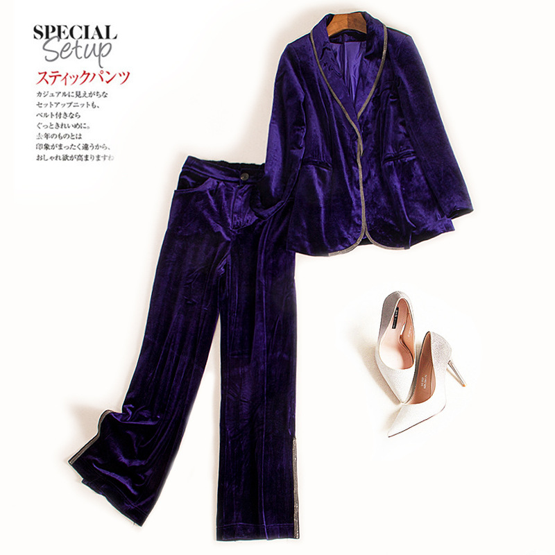 >2019 Autumn New Velvet <font><b>Split</b></font> <font><b>Pants</b></font> <font><b>Suits</b></font> Wide Leg Mid Long Blazer Jacket Fashion Causal Two Piece Set Women Dark Blue