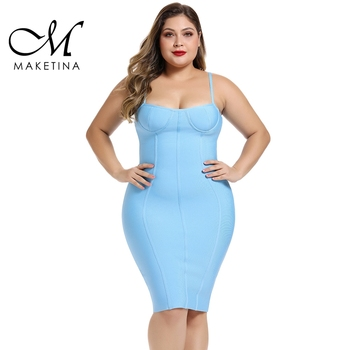 Maketina 2020 Spring Summer Blue Plus Size Bandage Dress XL Rayon Women Sexy Party Club Bodycon