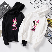 Minnie Women Hoodies Cute Cartoon Fashion Long Sleeve Hooded Sweatshirt Casual Plus Size Pullover Tops Thin For Autumn Winter