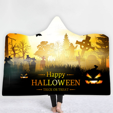 Custom DIY Print Halloween Hooded Blanket Cloak 100% Polyester Sherpa Wool Thicken Double Layer Wearable Leisure Blanket halloween digital print hooded blanket blanket cloak thick double layer 100% polyester fiber halloween hooded blanket