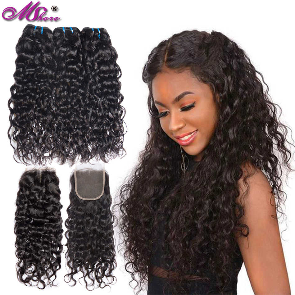 Mshere Water Wave Bundles With Closure Brazilian Hair Weave 3 Bundles With Closure Wet And Wavy Human Hair Bundles With Closure