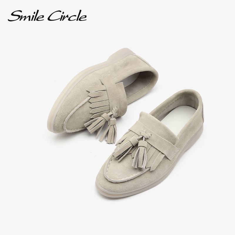 Smile Circle/loafers Women flats shoes cow-suede Slip-On Genuine Leather tassel Ballets Flats Shoes women Moccasins size 36-42