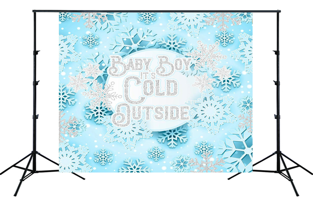 Snowflakes Baby Shower Backdrop Printed Backdrop Baby It/'s Cold Outside Backdrop Photo Backdrop Winter Wonderland Baby Shower Backdrop