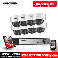 H.265 8CH 5MP 2.0MP NVR Kit Audio Security System POE IP Camera IR Cut Outdoor Waterproof CCTV Video Surveillance Set 2TB HDD