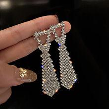 FYUAN-pendientes brillantes de cristal geométricos para mujer, bisutería con forma de corbata, aretes colgantes de diamantes de imitación, joyería llamativa