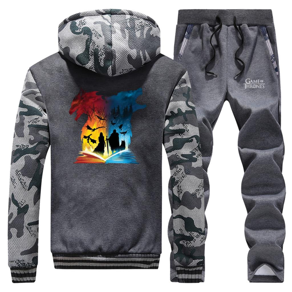 2019 New Winter Game Of Thrones Book Of Fire And Ice Sportswear Hoodies Men Camouflage Suit Coat Thick+Sweatpants 2 Piece Set
