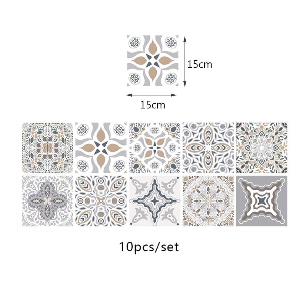 10 Buah Stiker Genteng Perekat Diri Tahan Air Maroko Mosaik Stiker Dinding Kontemporer Gaya Bohemian