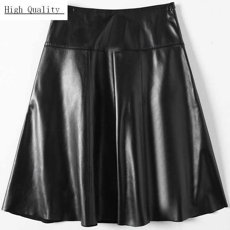 Real Leather Skirt Ladies Harajuku Work A-Line Skirts Women Luxury Sheepskin Genuine Leather Skirts Large Size 3XL Korean Female