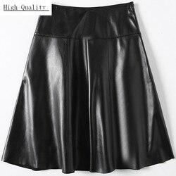 Echt Leder Rock Damen Harajuku Arbeit A-linie Röcke Frauen Luxus Schaffell Echtes Leder Röcke Große Größe 3XL Koreanische Weibliche