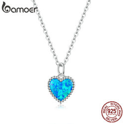bamoer Deep Blue Heart Necklace for Women 925 Sterling Plated platinum Translucent opal Luxury Brand Jewelry 2020 Mode SCN413