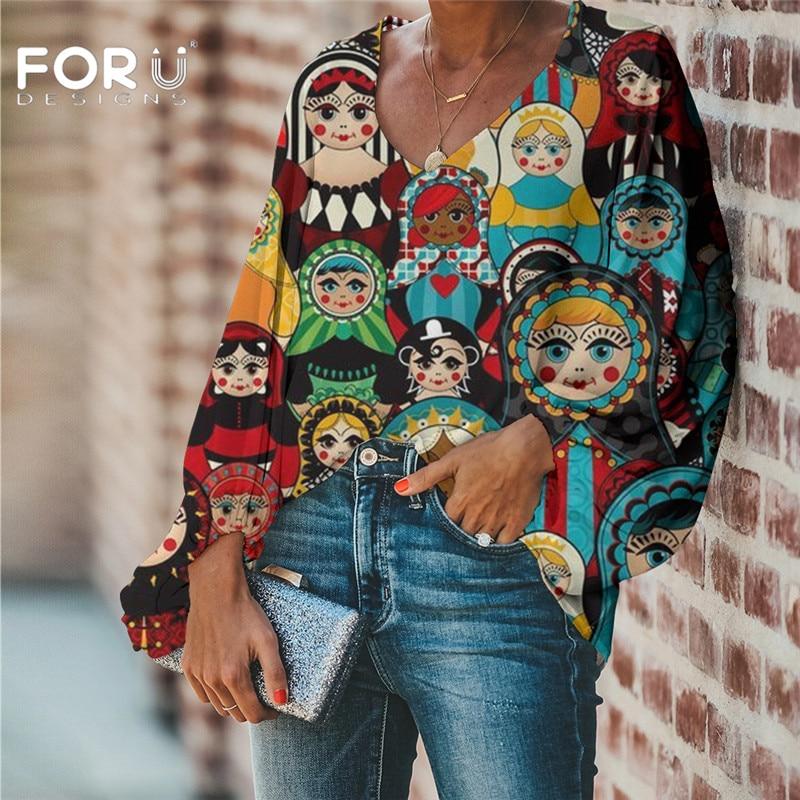 FORUDESIGNS Large Size Women Blouse Russian Matryoshka Pattern 2020 Casual Loose Long Sleeve Shirt Tops V neck Female Clothing Blouses & Shirts    - AliExpress