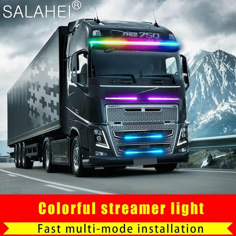 24 В 5050SMD стробоскопический ходовой стример светодиодная лента освещения динамический стример для фургона грузовика задней двери Гибкая DRL ...