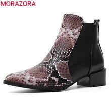 MORAZORA 2020 yeni varış kadın yarım çizmeler yılan sivri burun düşük topuklu rahat ayakkabılar sonbahar kış Chelsea çizmeler kadın