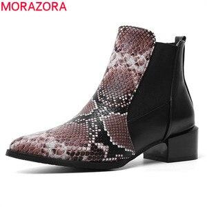 Image 1 - Morazora 2020 Nieuwe Aankomst Vrouwen Enkellaars Slang Spitse Neus Lage Hakken Casual Schoenen Herfst Winter Chelsea Laarzen Vrouwelijke