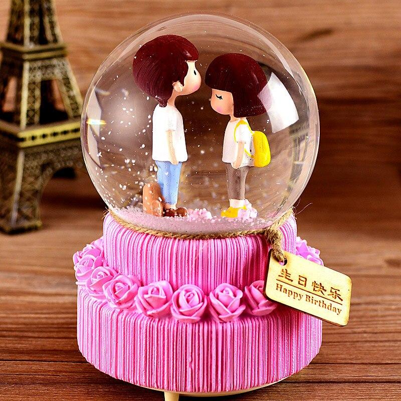 3d bola de cristal caixa de música