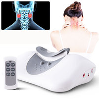 Wireless remote control hot neck massager medium frequency pulse massage pillow cervical vertebra treatment health therapy EMS