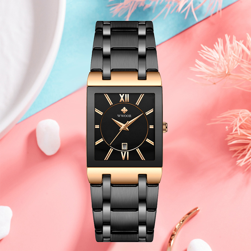WWOOR Rose Gold Watch Women Square Quartz Waterproof Ladies Watches Top Brand Luxury Elegant Wrist Watch Female Relogio Feminino