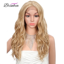 Brinbea Blonde Lace Front Wigs for Women Long Curly Wavy Long Blonde Synthetic
