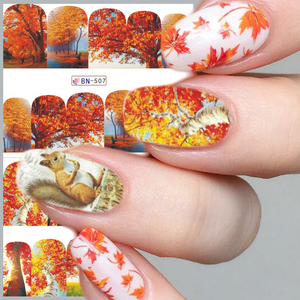 Image 2 - 12pc Water Decals Autumn Nail Stickers Gold Maple Leaves Nail Art Sliders Sets Manicure Polish Foils Decoration Tips LABN505 516