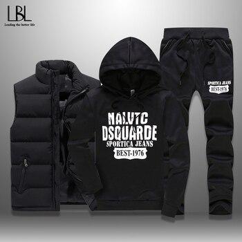 Men's Winter Tracksuits Casual Sportswear Sweatshirts Mens Set 3 Pieces Warm Vest Sweatpants Hoodie Letter Printed Plus Size 5XL 1