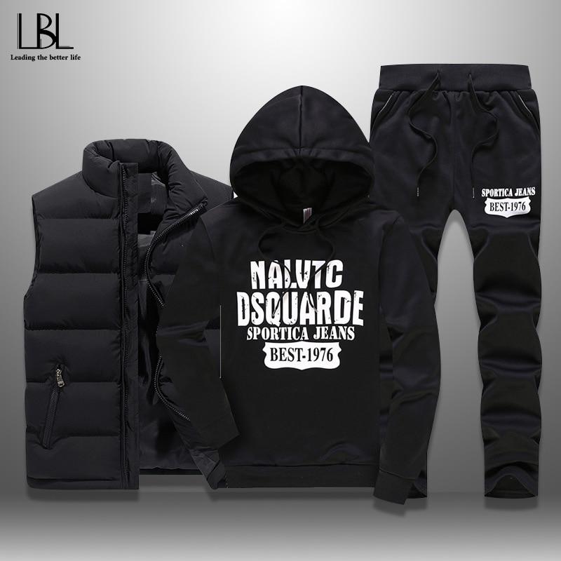 Inverno dos homens agasalhos casuais camisolas esportivas dos homens conjunto 3 peças colete quente moletom com capuz carta impressa plus size 5xl