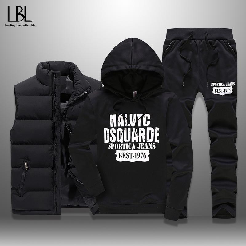 Men's Winter Tracksuits Casual Sportswear Sweatshirts Mens Set 3 Pieces Warm Vest Sweatpants Hoodie Letter Printed Plus Size 5XL