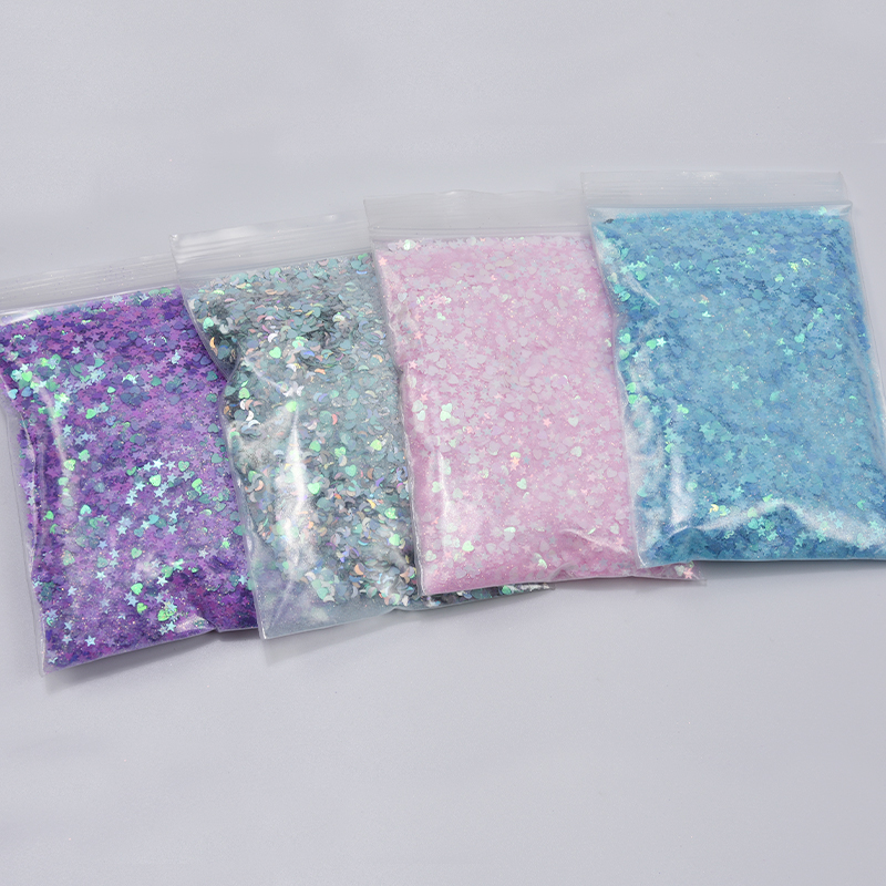 50grams In 1 Bag 7clors Nail Glitter Holographic Sequins Glitter Heart- Moon-Star- Butterfly Colorful Flakes Star Shape Glitter