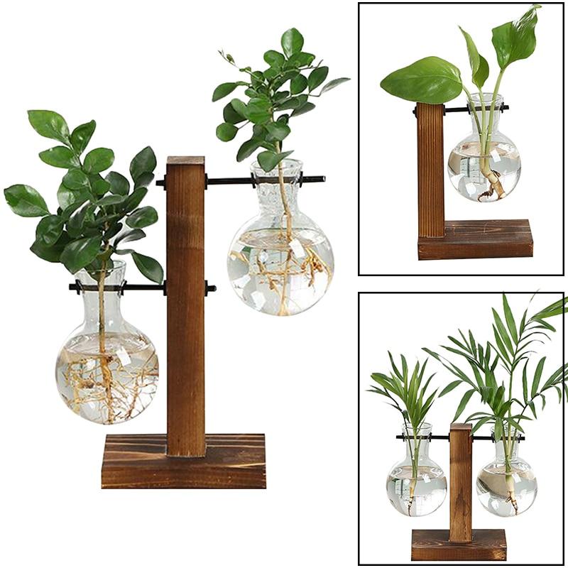 3.62US $ 50% OFF Terrarium Hydroponic Plant Vases Vintage Flower Pot Transparent Vase Wooden Frame G...