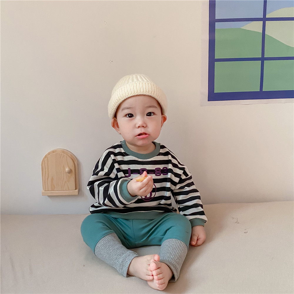 Spring New Baby Girls Sweatshirts Set Long Sleeve Tops + Pants Kids Toddler Boys Pullover Stripe Sweatshirt T-shirt Clothes Set 5