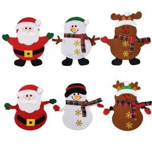 Image 2 - Держатель для столовой посуды в виде кармана, Рождественское украшение, праздничные украшения в виде снеговика, Санта, эльфа, оленя, бесплатная доставка