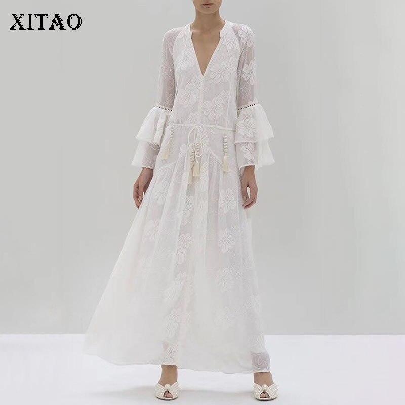 XITAO Sexy Patchwork dentelle robe blanche évider mode personnalité volants femmes vêtements 2019 V cou robe élégante GCC2663