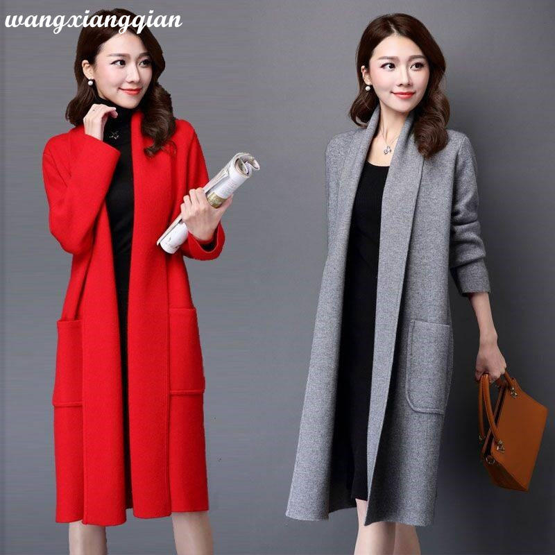 Women's Fashion Sweater Coats Autumn Winter Large Size Polyester Casual Long Pocket Knit Sweater Cardigan 2020 Markdown Sale Z35